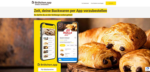 Brötchen App Webseite